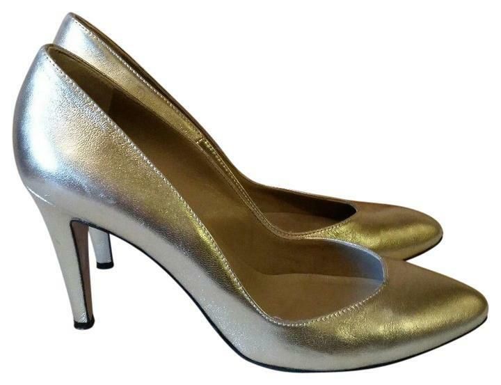 Coye Nokes Heels Auth gold Nappa Leather Pumps Retail  425 Size IT 38.5 US 8.5