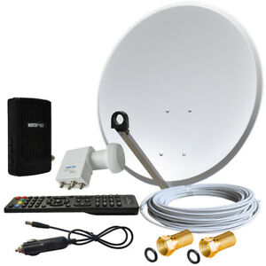 Digitale-Satelliten-Anlage-60cm-mit-Mini-HDTV-Sat-Receiver-USB-LNB-Quad-4-TV-HQ