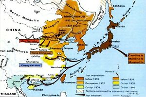 Details about 1941 WW2 JAPAN JAPANESE OCCUPATION MAP ASIA PACIFIC WAR USA  AMERICA II Postcard