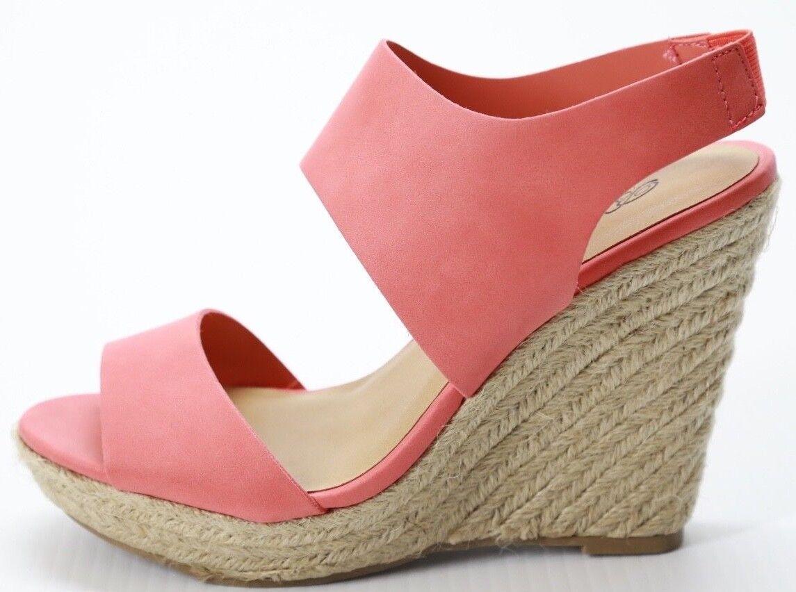 Women's Breckelle's Denise Wedge Wedge Denise Sandal Pink Open Toe Ankle Strap 6.5 6651b9
