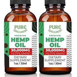 Hemp Oil 30,000mg | Fast and Effective USDA Organic Hemp Seed Oil (2-Pack)