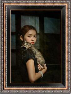 Hand-painted-Oil-painting-original-Art-Portrait-girl-cat-on-canvas-24-034-x36-034
