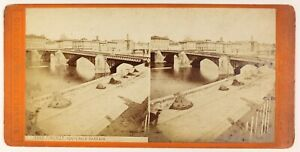 Firenze Ponte Alla Carraia Italia Foto Stereo PL55L4n Vintage Albumina c1880