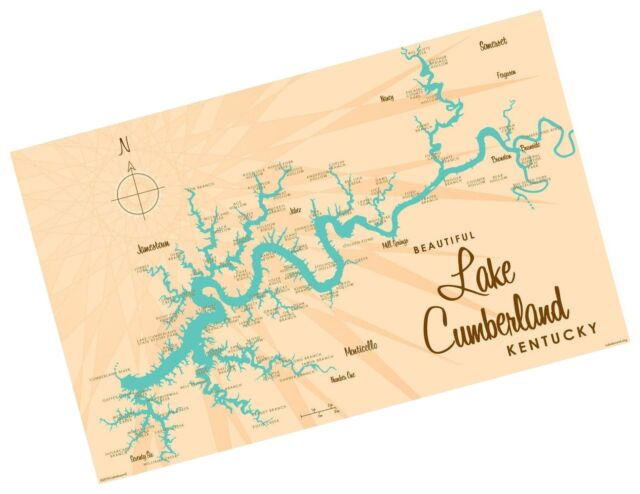Lake Cumberland Kentucky Map Vintage-Style Art Print by Lakebound (12\