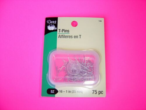 "Sharp Nickel-Plated Steel Dritz 75 pack T-Pins Long Size 20-1/"" 25mm"