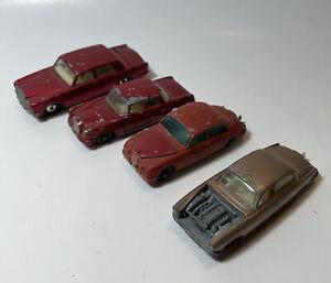 Vintage-Matchbox-Lesney-Lot-Rolls-Royce-Jaguer-Mercedes-Benz-with-FLAWS-GIFT