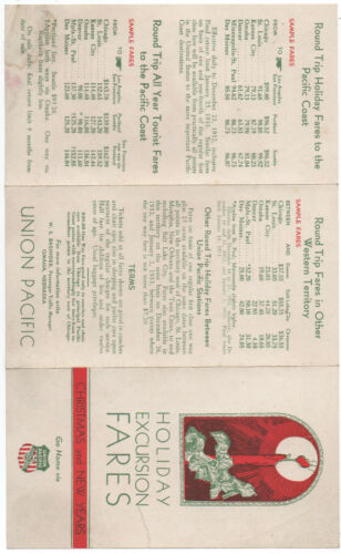 1916 Union Pacific Railroad Holiday Excursion Fare Christmas Brochure