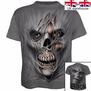 Fashion-3D-Printed-Men-039-s-T-shirt-Clothing-Casual-Short-sleeve-silk-Tops-Skull-UK