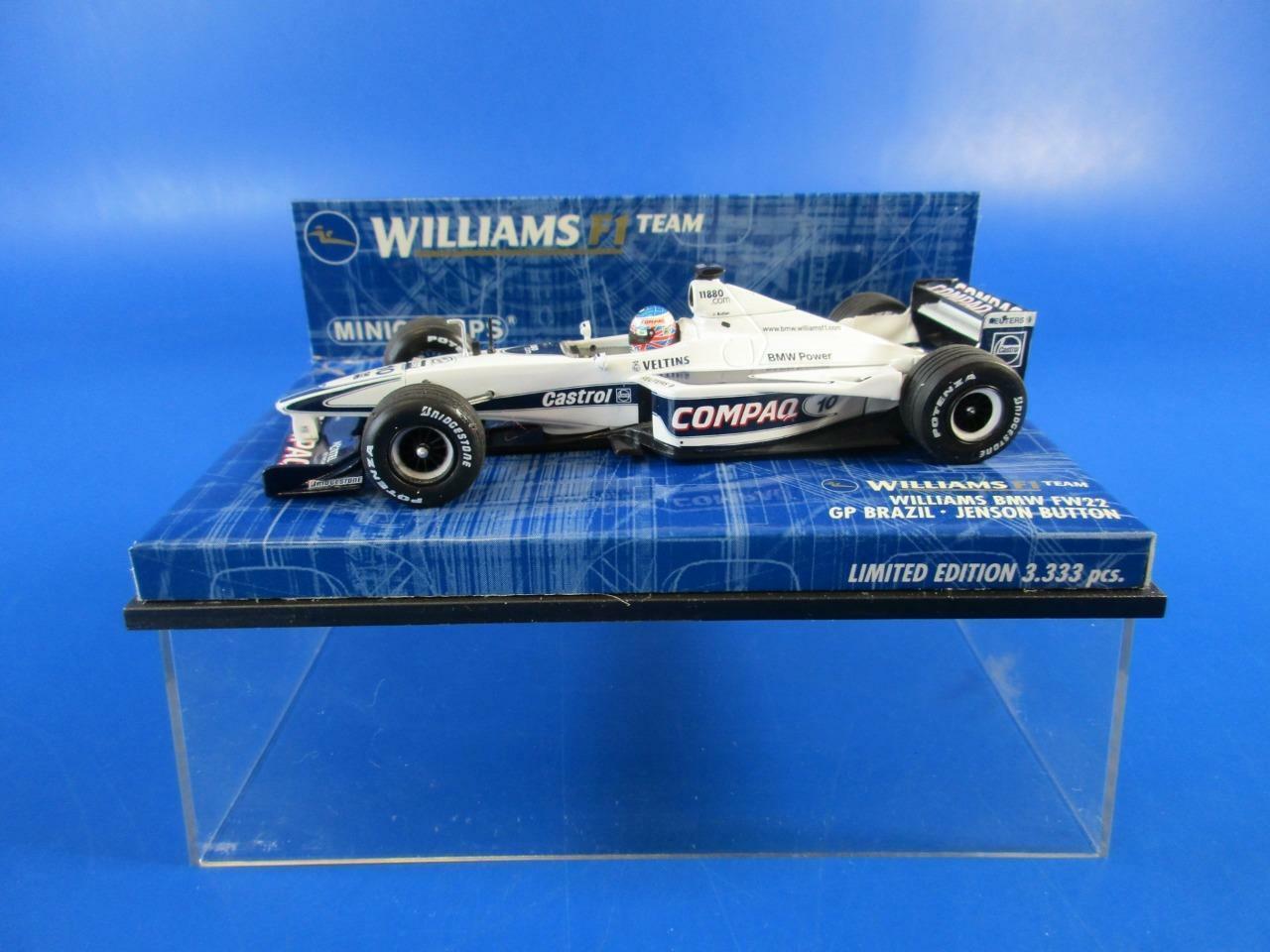 MINICHAMPS WILLIAMS F1 TEAM WILLIAMS BMW FW22 GP BRAZIL JENSON BUTTON, MIB
