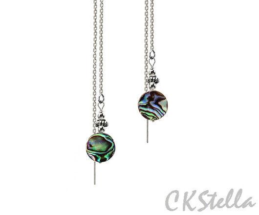 White abalone threader earrings