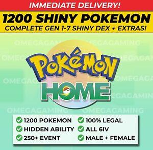 Pokemon Home FULL SHINY LIVING DEX, Gen 1-7   250 Event, ALL Legendary, 6IV, M+F