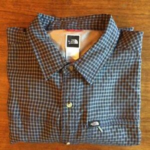 8484cbb43 Details about Men's The North Face long sleeve dark blue & white button  down plaid XL shirt