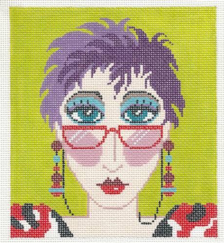 "LEE Colorful /""City Girl/""  handpainted HP Needlepoint Canvas ~ BG Insert"