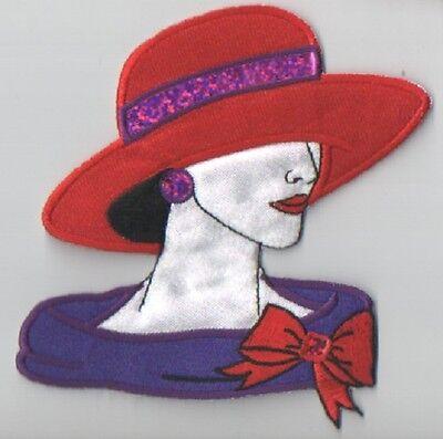 RHINESTONE TRANSFER  RED HAT LADY APPLIQUE 3834-Z