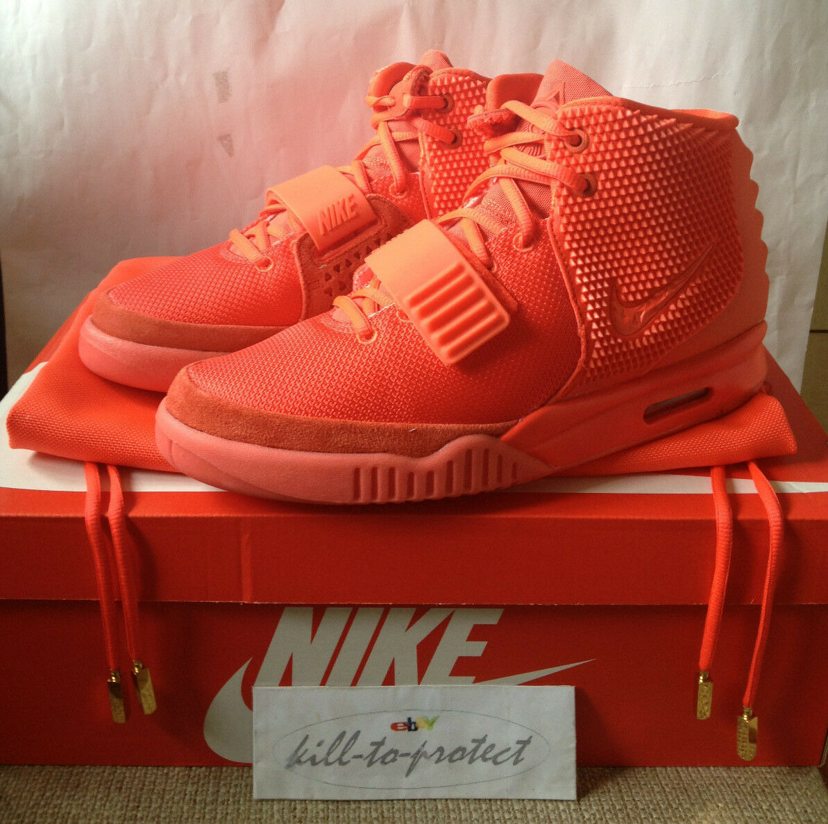 NIKE AIR YEEZY 2 RED OCTOBER Sz US7 UK6 KANYE WEST 508214-660 LEGIT+Receipt 2014