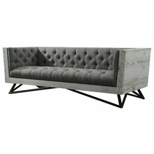 Details about Armen Living Regis Tufted Sofa in Gray and Black