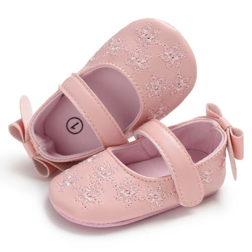 Baby Girl Crib Shoes Faux Leather First Shoes Princess Dress Shoes 3 6 9 12 18 M