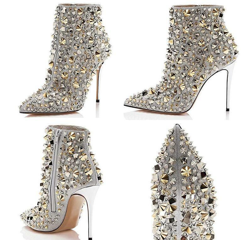donna Rivets  Side Zip scarpe Pointy Toe High Stiletto Heel Ankle stivali Nightclub  prezzo più economico