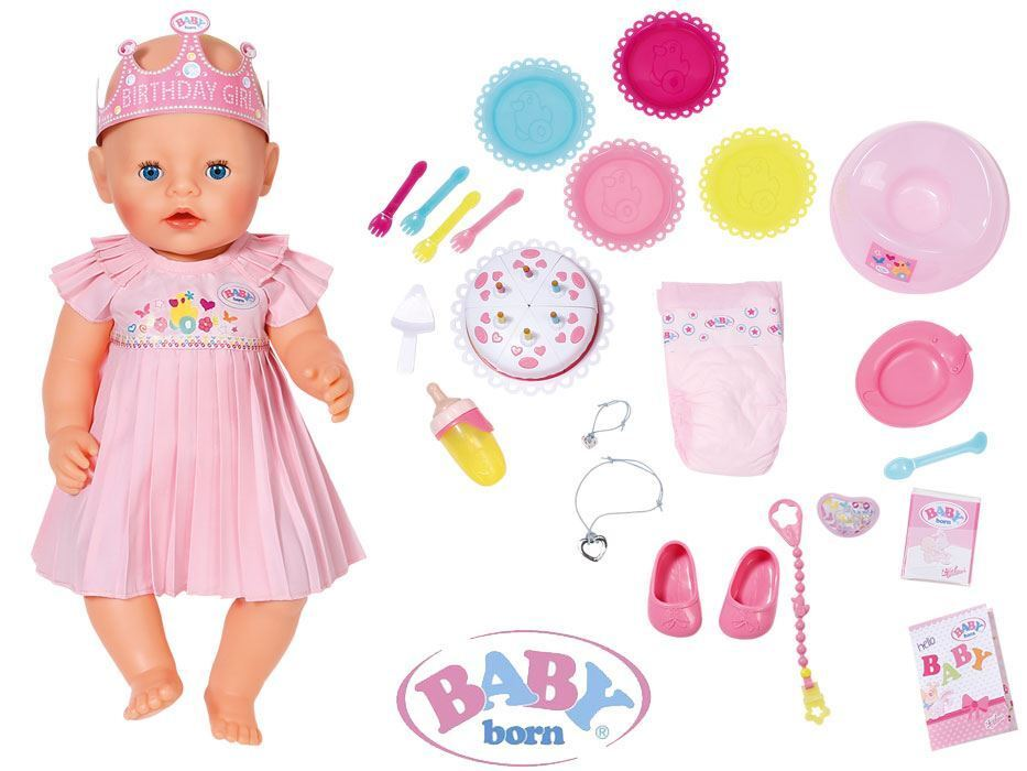 Zapf Creation Baby born Puppe Interactive Happy birthday Realistic Function