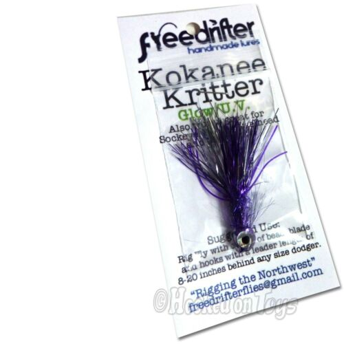 Lure 1 Freedrifter Handmade Lures Kokanee Kritters Hand Tied UV Glow Fly One