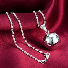 new Fashion 1pcs  925 Silver Big Bell Ball Necklace Pendant N-4