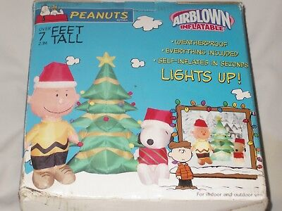 Snoopy Christmas Images.New Over 7 Lighted Peanuts Charlie Brown Snoopy Christmas Airblown Inflatable Ebay