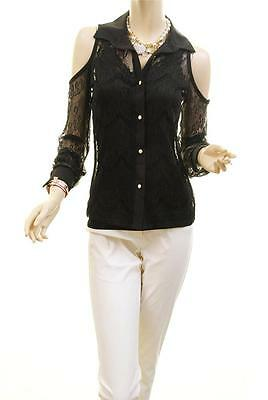 Celebrity Women Sexy Lace Sheer Gold Button Peep Cold Shoulder Blouse Shirt Top