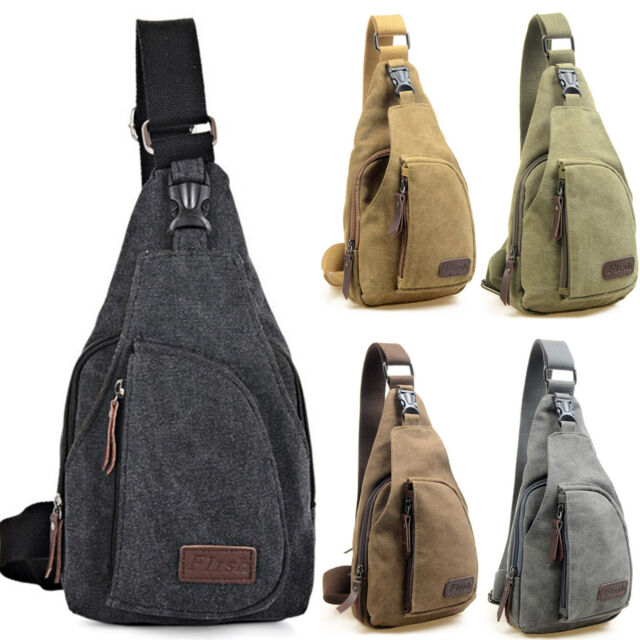 Herren Canvas Militär Brusttasche Crossbag Schultertasche Umhängetasche Bodybag
