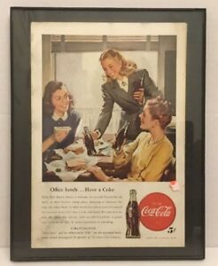 Coca Cola 1947 Framed Original Magazine Ad Ladies Office Lunch Ebay