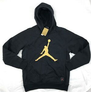 Nike-Air-Jordan-OVO-Drake-Pullover-Hoodie-Black-Gold-826737-010-Men-039-s-S-XL