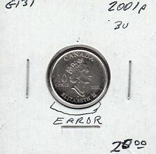 G131 CANADA 10c - 10 CENTS COIN 2001p BRILLIANT UNCIRCULATED - ERRORS