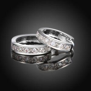 18K-White-Gold-Plated-CZ-Huggie-Hoop-Earrings-US-Seller-FREE-SHIPPING