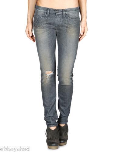 NEW ladies DIESEL XEROZ 0884N Grey stretch SLIM LEG JEAN women W26 L30 size