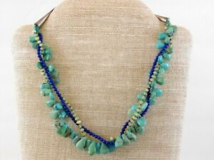 Vintage-Southwestern-Three-Strand-Gemstone-Necklace-925-Turquoise-Blue-Lapis