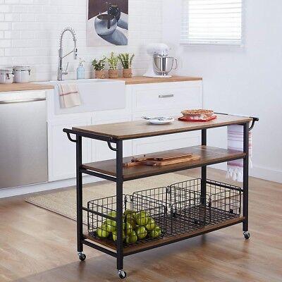 Rolling Island Kitchen Cart Metal Frame Rustic Wood Bar Tabletop Shelves Baskets Ebay