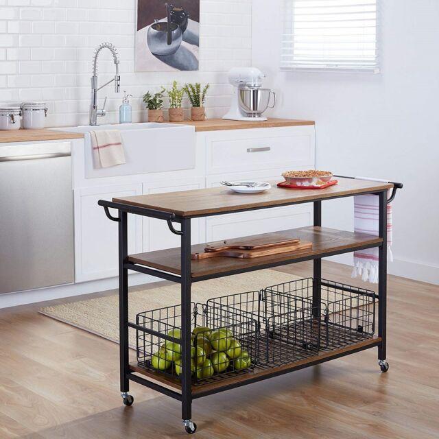 Rolling Island Kitchen Cart Metal Frame Rustic Wood Bar Tabletop Shelves  Baskets