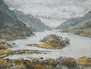 Acrylic-Painting-Unikat-034-Scottish-Lake-034-Original-Gerry-Miller-40x50x5cm-Malerei