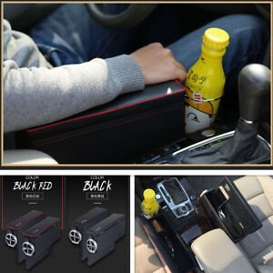 2xAnti-scratch-Car-Armrest-Storage-Box-PU-Leather-For-Coin-Collector-Cup-Holder