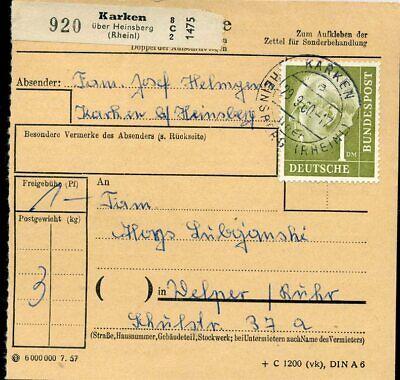 427516) Bund Paketkarte Aus Karken über Heinsberg 1960 Mit Nr. 194 Durch Wissenschaftlichen Prozess