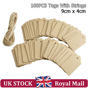 100XKraft-Paper-Gift-Tag-String-Price-Tags-Christmas-Wedding-Decor-Blank-Label