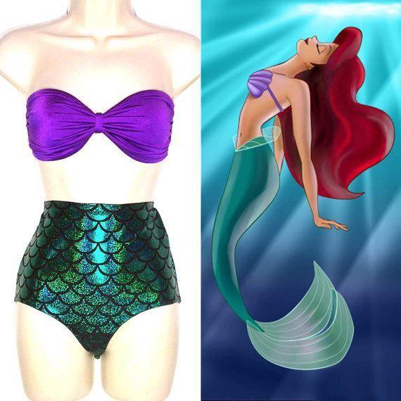 Sexy High Waist Ariel Mermaid Cosplay Bikini Emerald Green Fish Scales Swimsuit