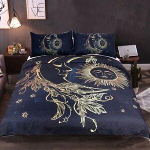BOHO-Sun-Moon-Stars-Bed-Comforter-Duvet-Quilt-Cover-Bedding-Set-With-Pillowcase