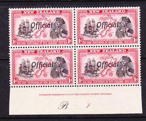 NEW ZEALAND 1940 1d CENTENNIAL OFFICIAL PLATE BLK 4 #B1 MNH