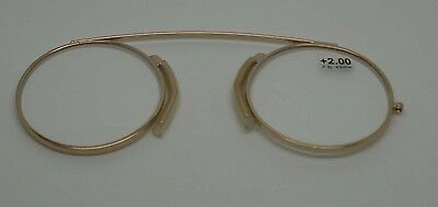 Modern Pince Nez Reading glasses /Spectacles Gold colour