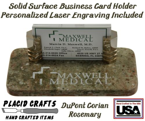 Handmade Personalized Business Card Holder Rosemary Corian #BCH131