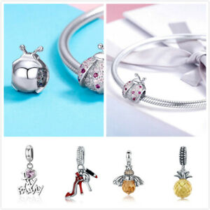 Women-DIY-Charms-Beads-Pedants-925-Sterling-Silver-With-CZ-Fit-Bracelets-Chain