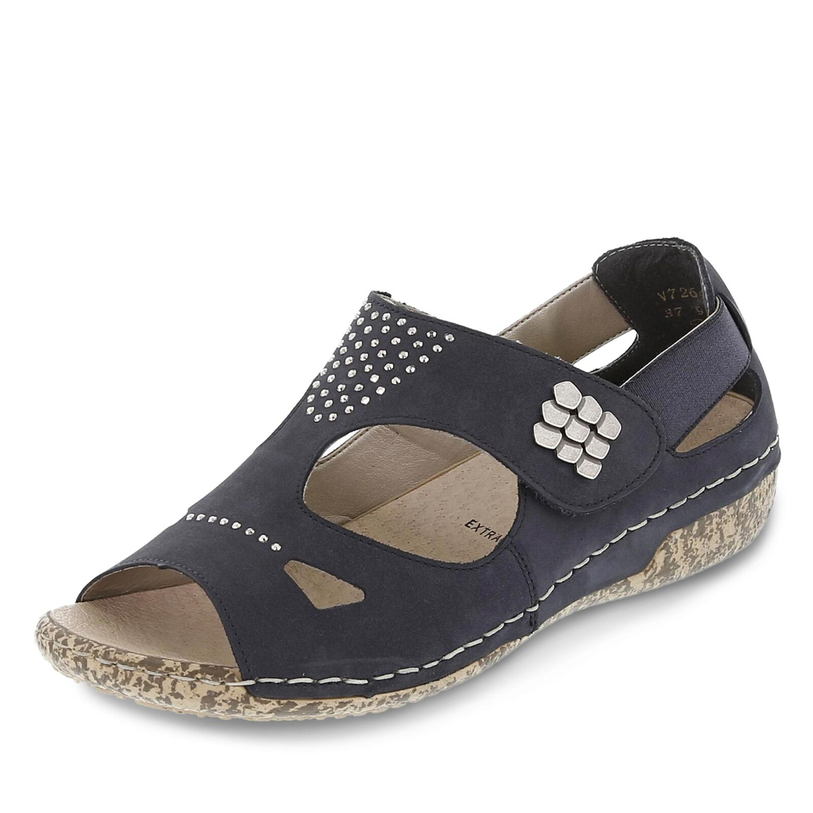 Rieker Damen Sandale Sandalette Klettschuhe Sommerschuhe Schuhe Nubukleder blau