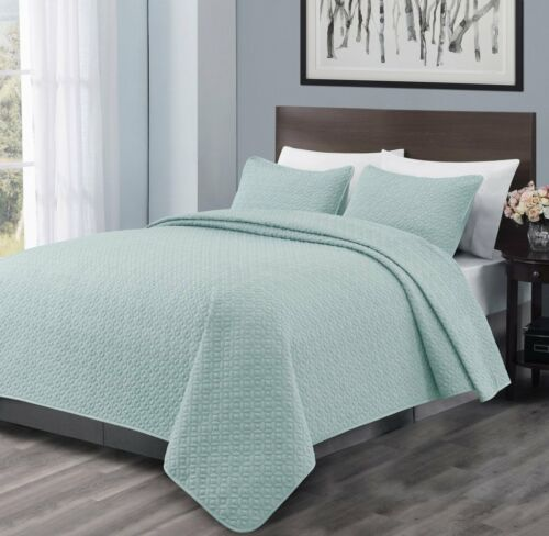 100/% Polyester Microfiber 3PC Aqua Green Quilt Coverlet Bedspread Set-3 Sizes