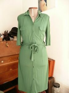 5e464ad77ba Details about H&M Green Jersey 40s Utility Land girl Style Shirt Shift  Collared Shirt Dress 10