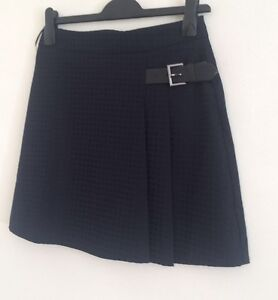 NEW-Ex-OASIS-Navy-Check-Print-Buckle-Short-Work-Formal-Flare-Skirt-Size-8-10
